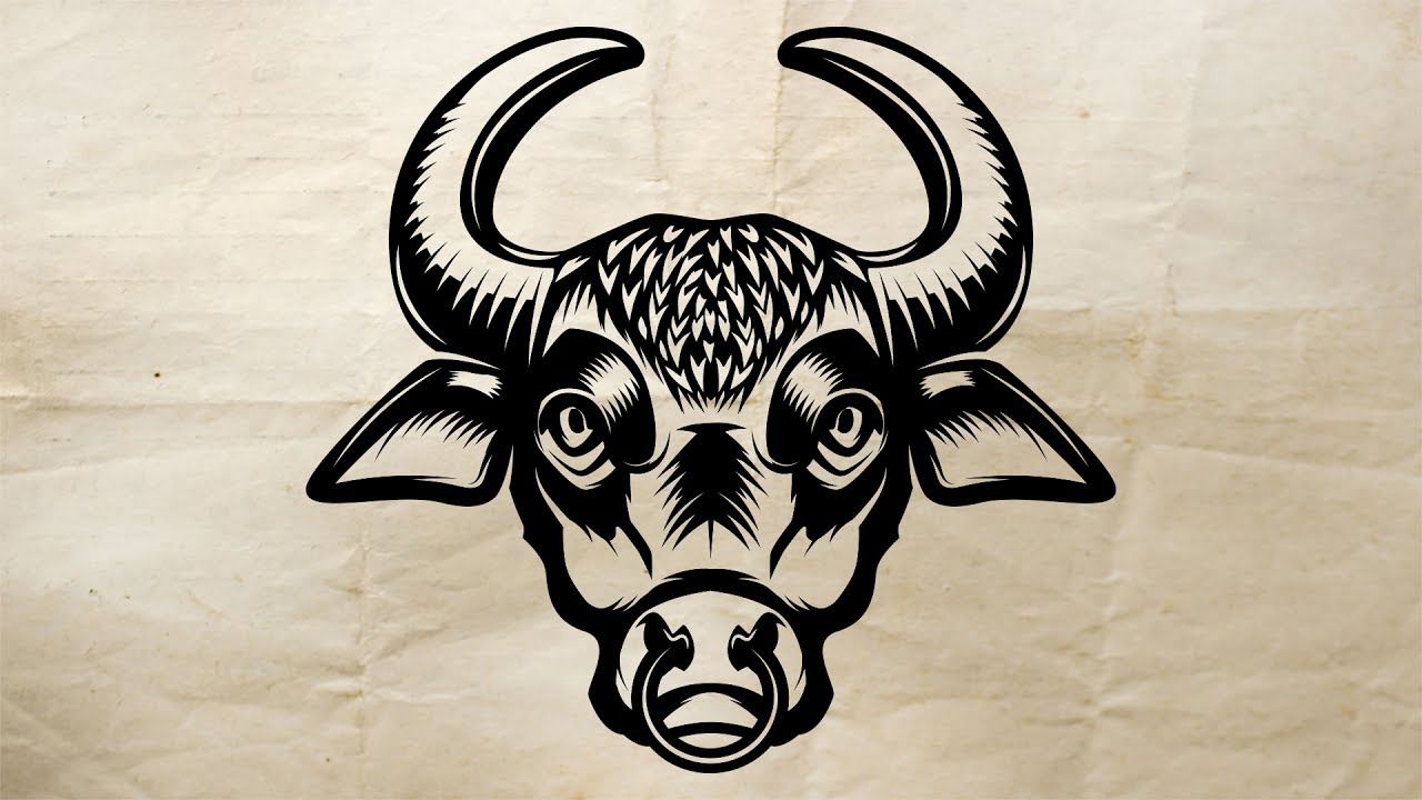 1280x720 Bull Head Speed Art Drawing In Adobe Illustrator Speed Arts