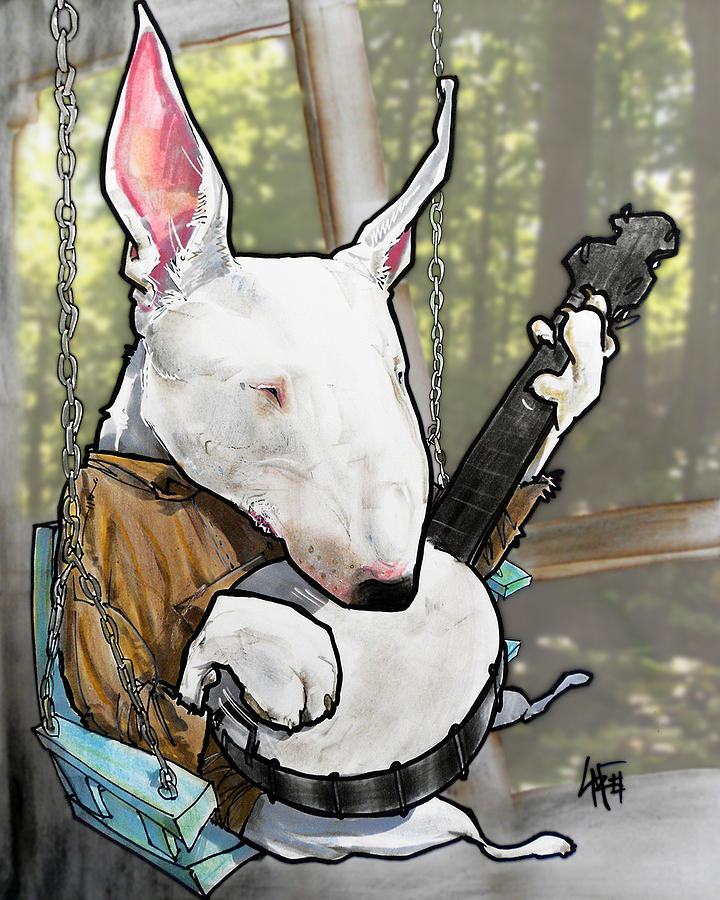 720x900 Deliverance Bull Terrier Caricature Art Print Drawing By John Lafree