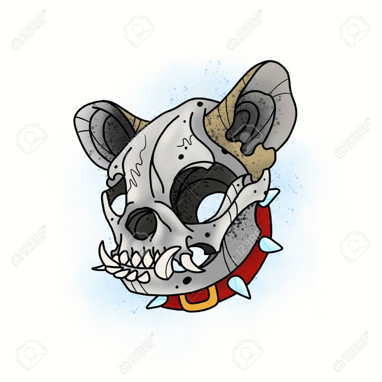 1300x1300 Dog Skull. Stylized Skeleton French Bulldog. Cartoon Illustration