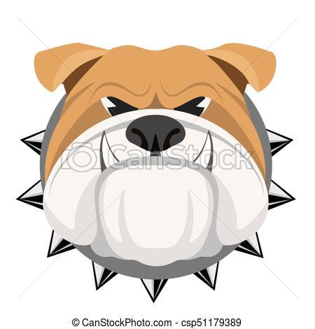 450x470 Angry Bulldog Face In Metal Collar Vector Realistic Vector