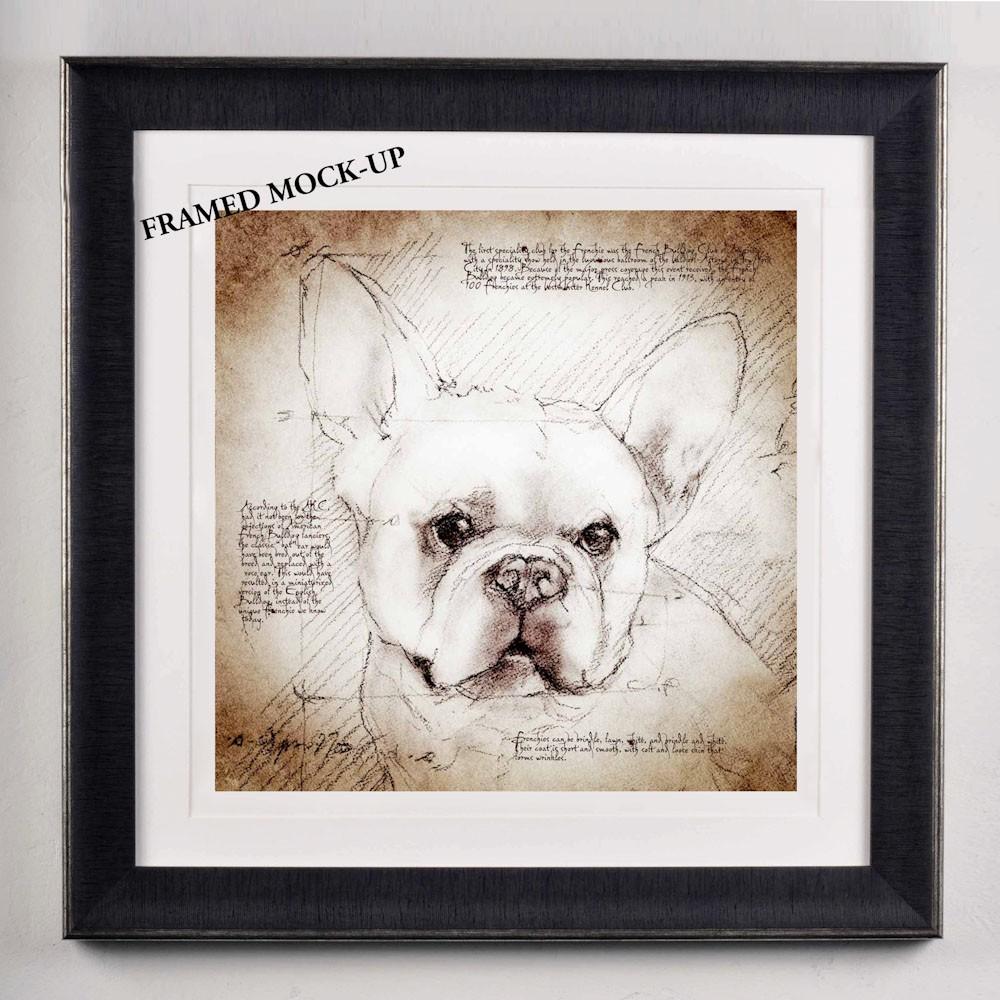 1000x1000 French Bulldog Face Detail Of A Da Vinci Style Drawing