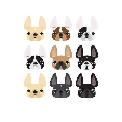 400x400 Frenchie Faces Art Print Puppy Face Art