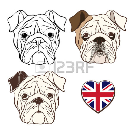 450x450 English Bulldog Face And French Bulldog Face With Heart Flags