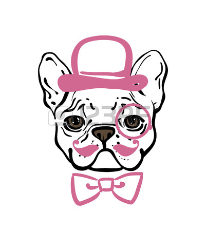401x450 Set Of Hand Drawn Vector French Bulldogs. Illustration In Line