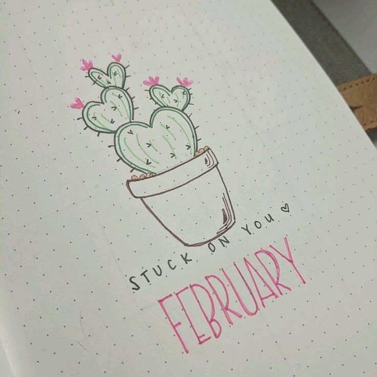 736x736 Bullet Journal Monthly Cover Page, February Cover Page, Cactus