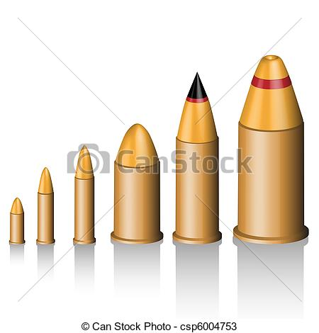 450x470 Illustration Of A Set Of Bullets Of Various Calibers. Drawings
