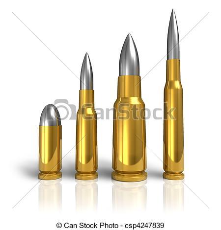 450x470 Set Of Different Bullets Stock Illustration