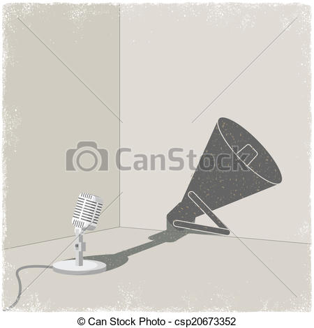 450x470 Microphone Casting Shadow Of Bullhorn In Vector Clipart Vector