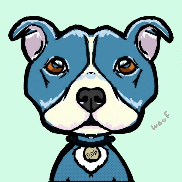 600x600 Cartoon Pit Bulls Drawing Pit Bull Love Art Print Animals