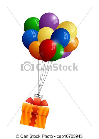 337x470 Bunch Of Balloons And Gift Eps Vector