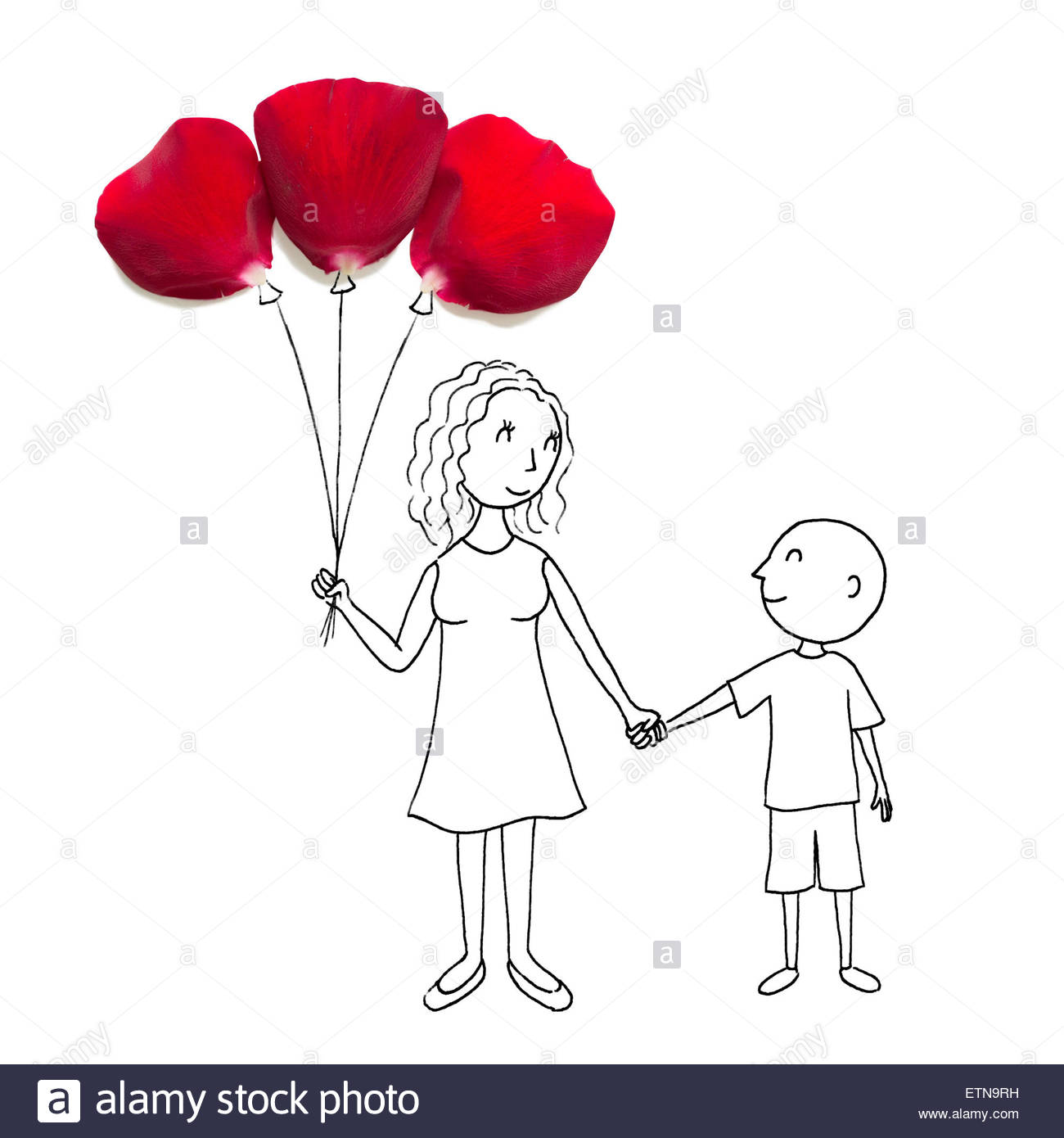 1300x1390 Conceptual Drawing Of Mother With A Bunch Of Balloons Holding