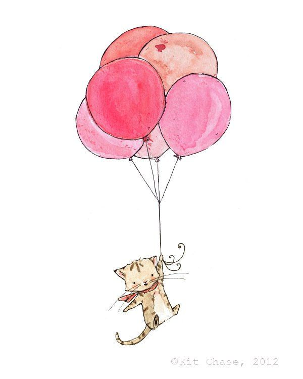 600x750 Kitten And Balloons Drawing