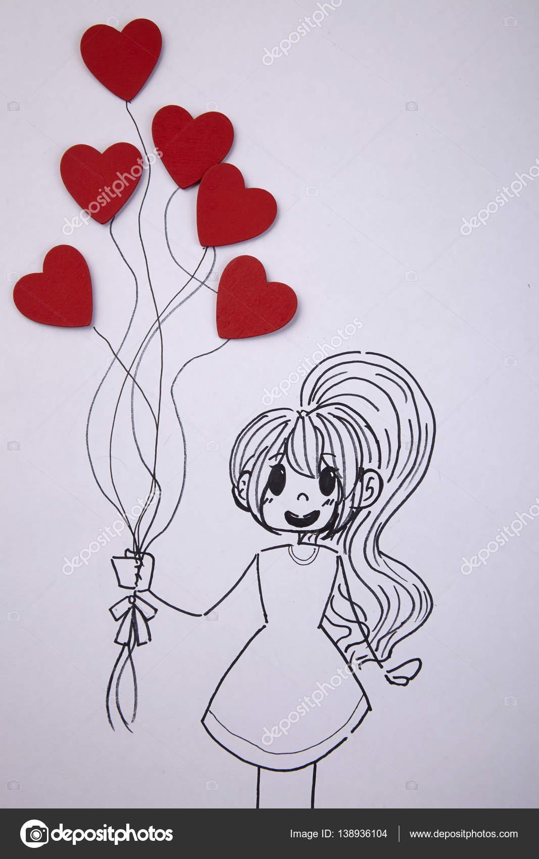 1067x1700 Girl Holding Heart Shaped Balloons Stock Photo Eskaylim