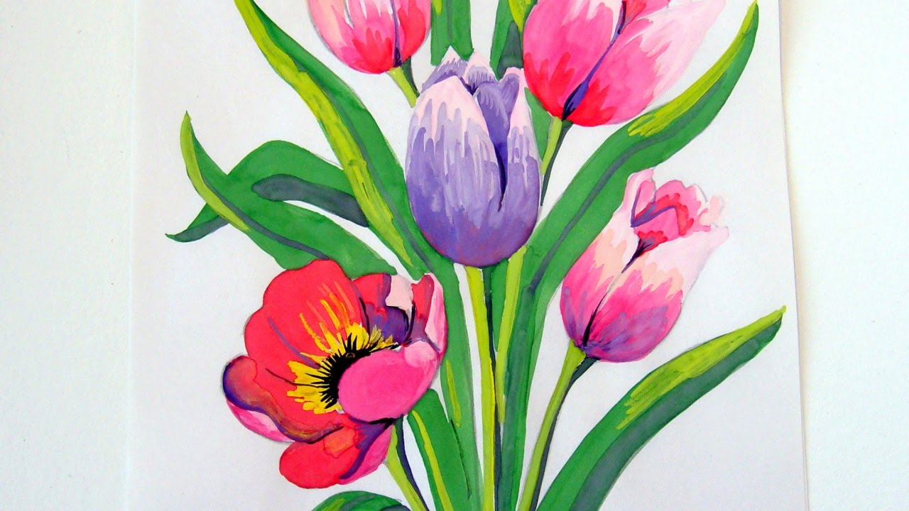 Bunch of flowers drawing at getdrawings free for personal use 1280x720 how to draw a beautiful bouquet for mothers day izmirmasajfo