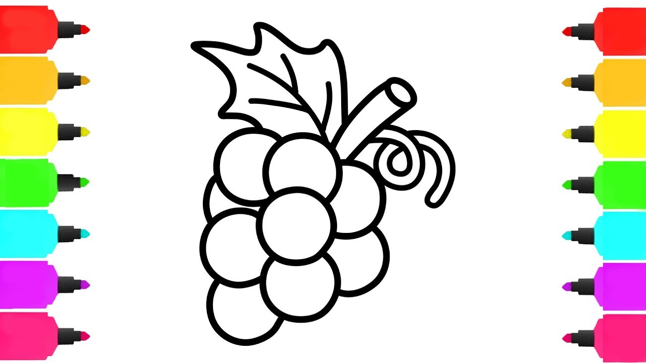 1280x720 Bunch Of Grapes Coloring Pages How To Draw Fruits For Kids