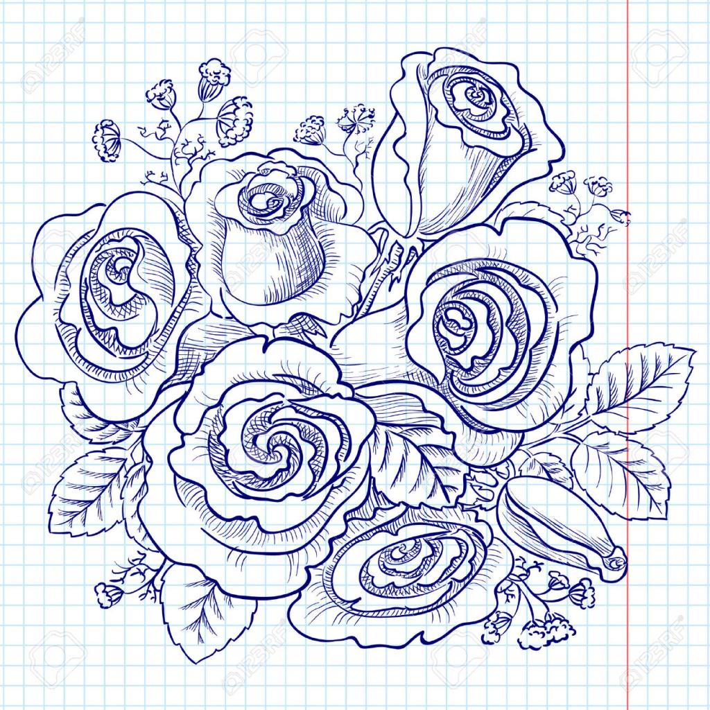 Bunch of roses drawing at getdrawings free for personal use 1024x1024 rose flower bunch sketch images bouquet of red and pink roses izmirmasajfo