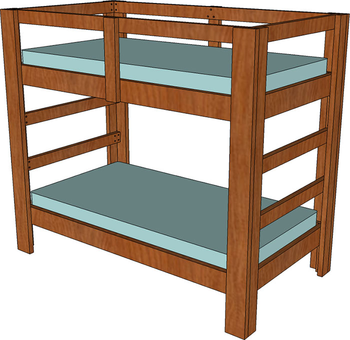 700x681 And Twin Bunk Bed Plan Jays Custom Creations