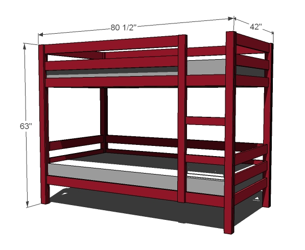 597x490 Great Bunk Bed Mattress Size Ana White Classic Bunk Beds Diy