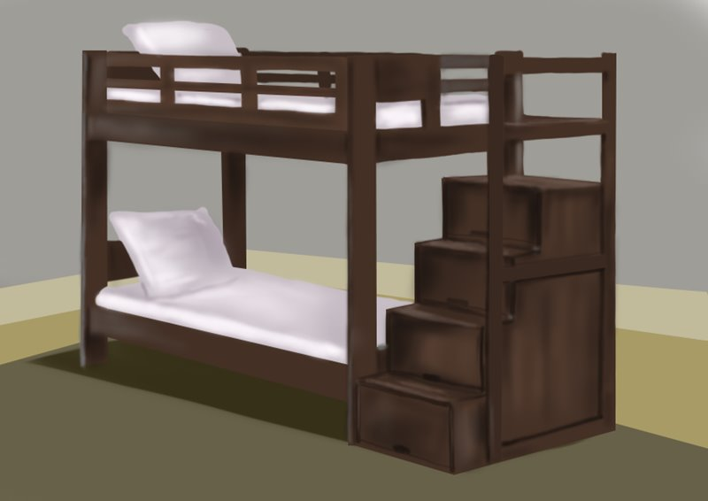 800x566 Learn How To Draw A Bunk Bed (Furniture) Step By Step Drawing
