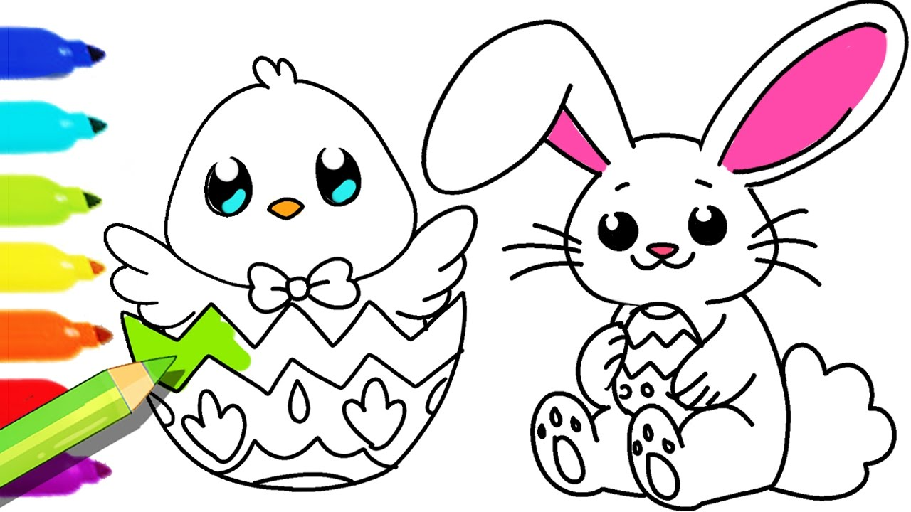 1280x720 How To Draw And Color Easter Bunny And Fun Colouring Pages
