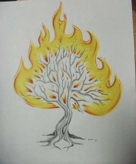 472x570 Chucky's Tattoo Design Burning Bush By Themightykikione