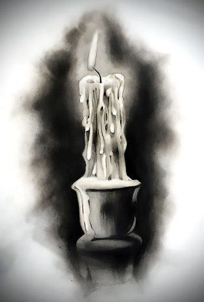 400x592 Black And Gray Candle Tattoo Design Burning Candle, Tattoo Art