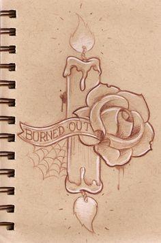 236x356 Burn It Down Candle Tattoo Design
