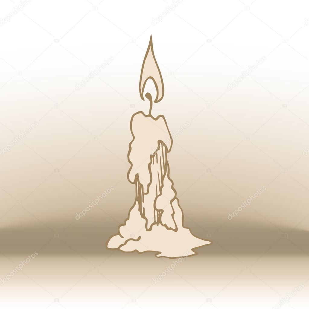 1024x1024 Burning Candle Sketch Stock Vector Tinkerfrost