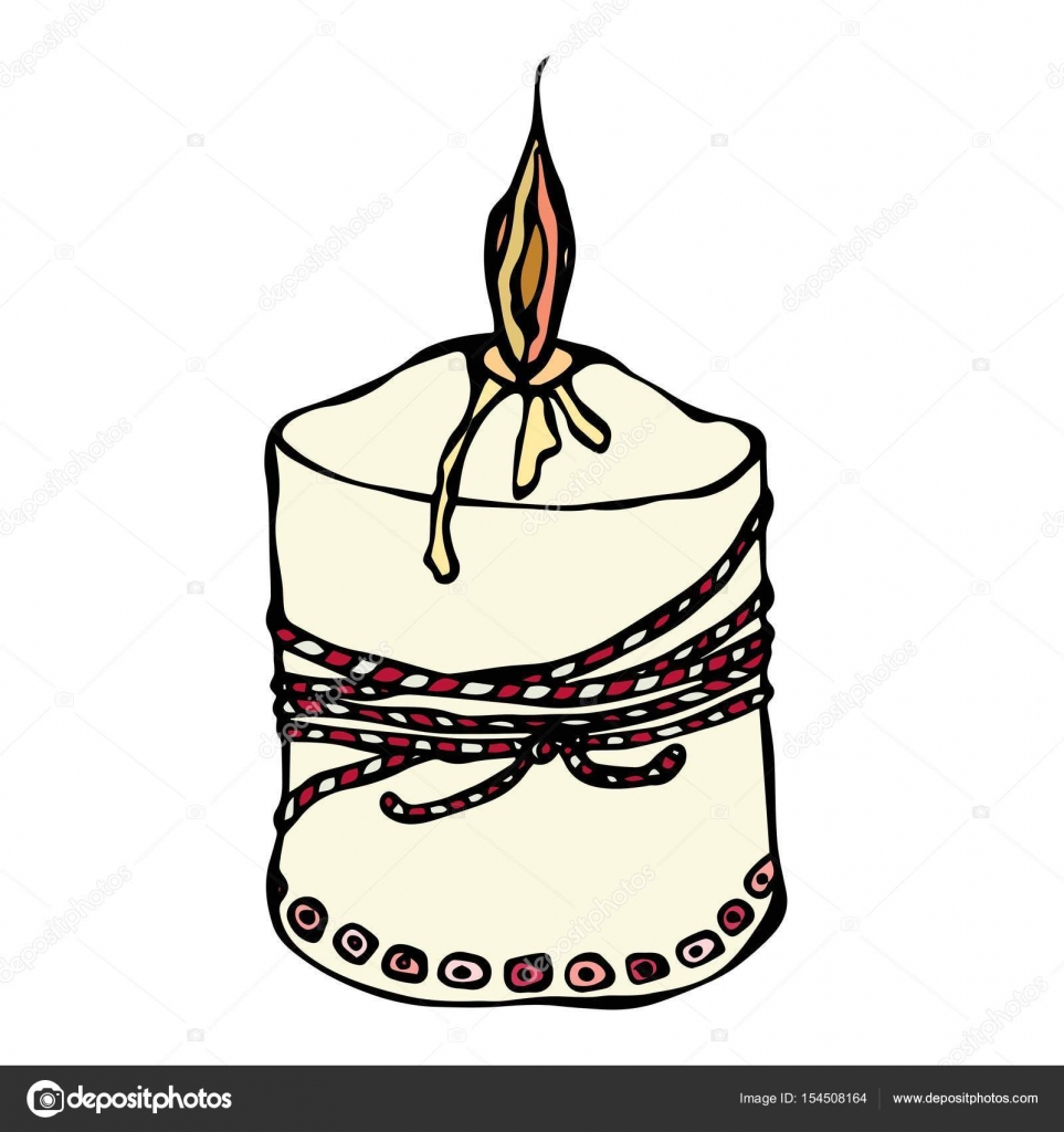 963x1024 Fat Burning Candle With Ribbon. Ink Vector Illustration Isolated