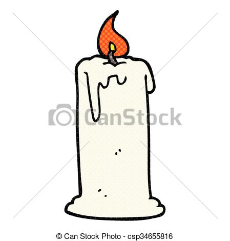 449x470 Freehand Drawn Cartoon Burning Candle Vector Clip Art