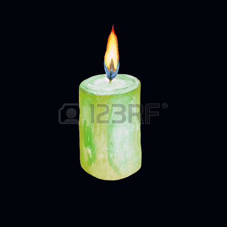 450x450 Watercolor Illustration Of A Lighted Green Candle. Isolated Image