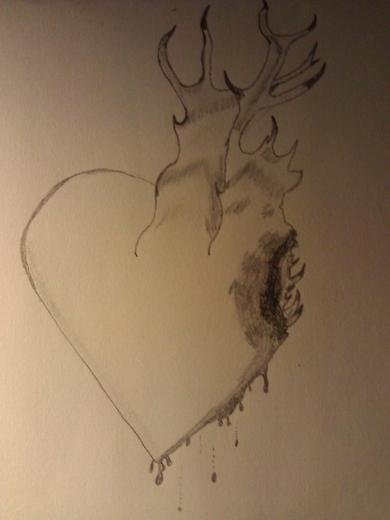 774x1032 Burning Heart Drawing By Shlappid