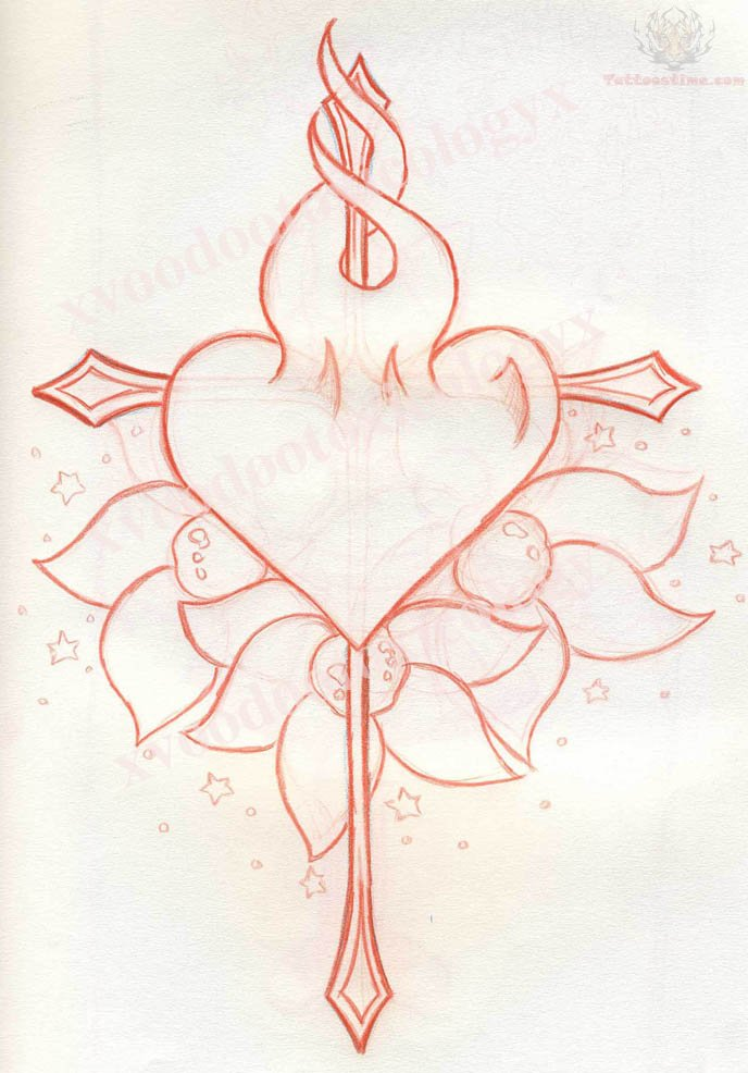 688x986 Heart And Arrow Tattoo Designs Arrow Cross And Burning Heart
