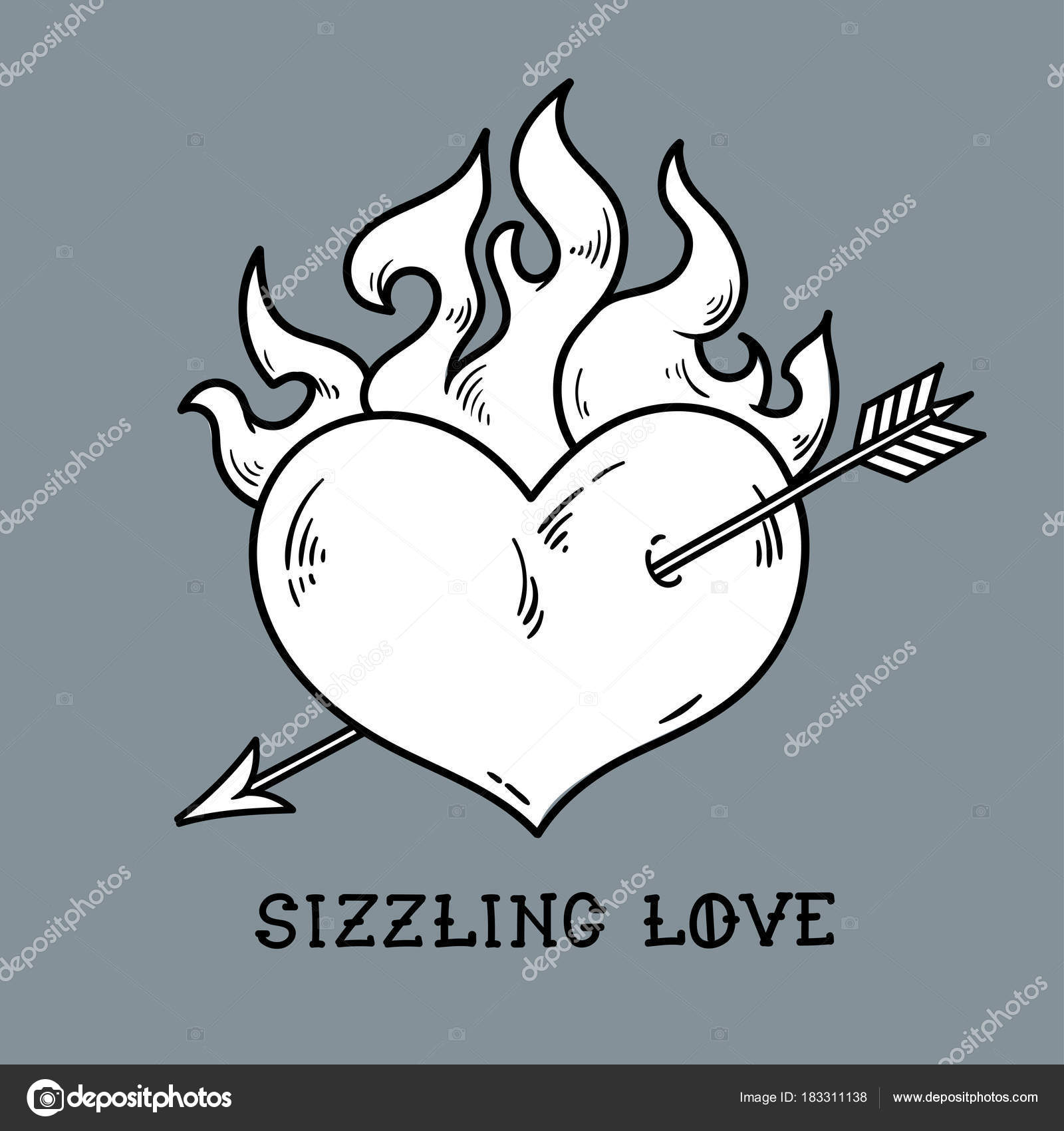 1600x1700 Red Burning Heart Pierced By Arrow. Sizzling Love Stock Vector