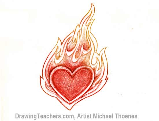 550x421 To Draw A Heart With Flames
