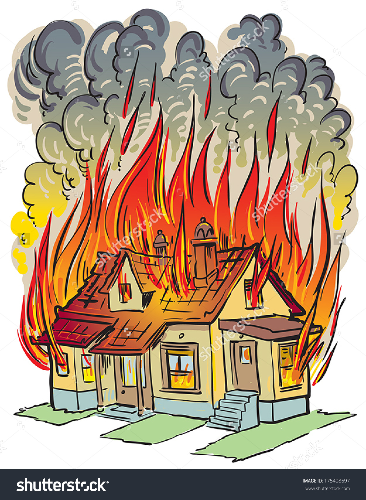 It is a photo of Breathtaking Burning House Drawing