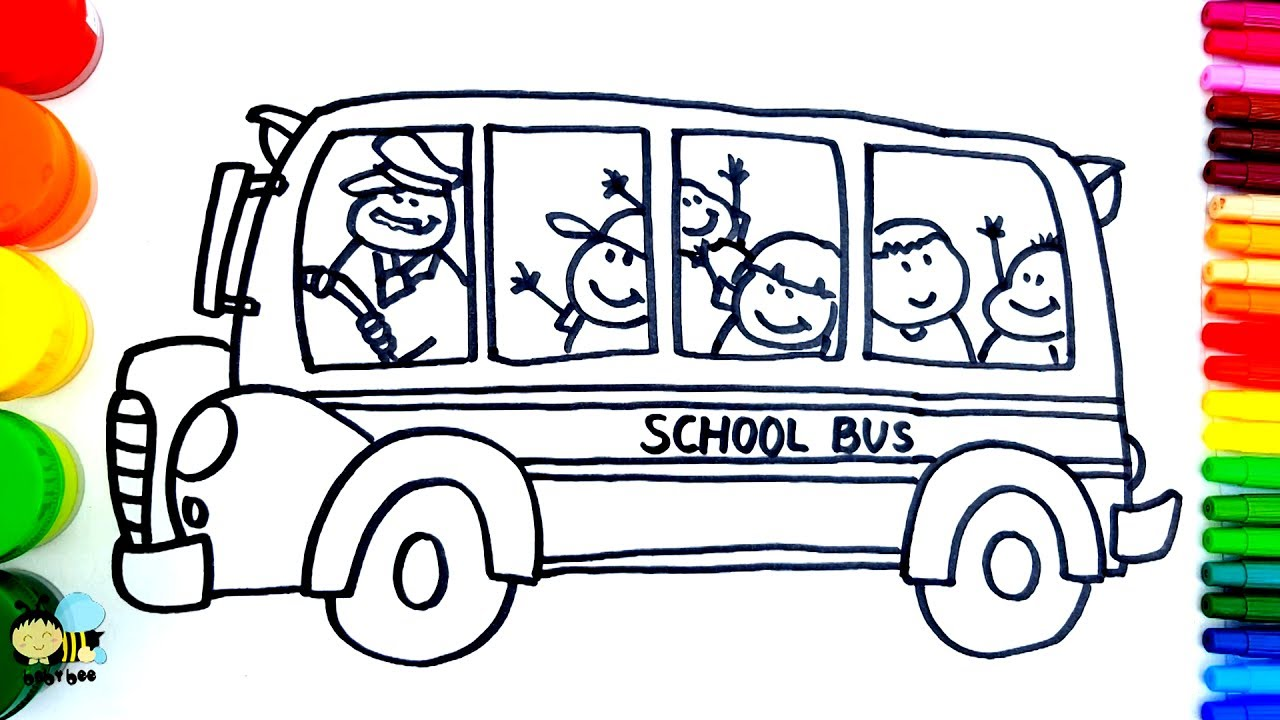 1280x720 How To Draw School Bus Coloring Pages Kids Songs Learn Drawing