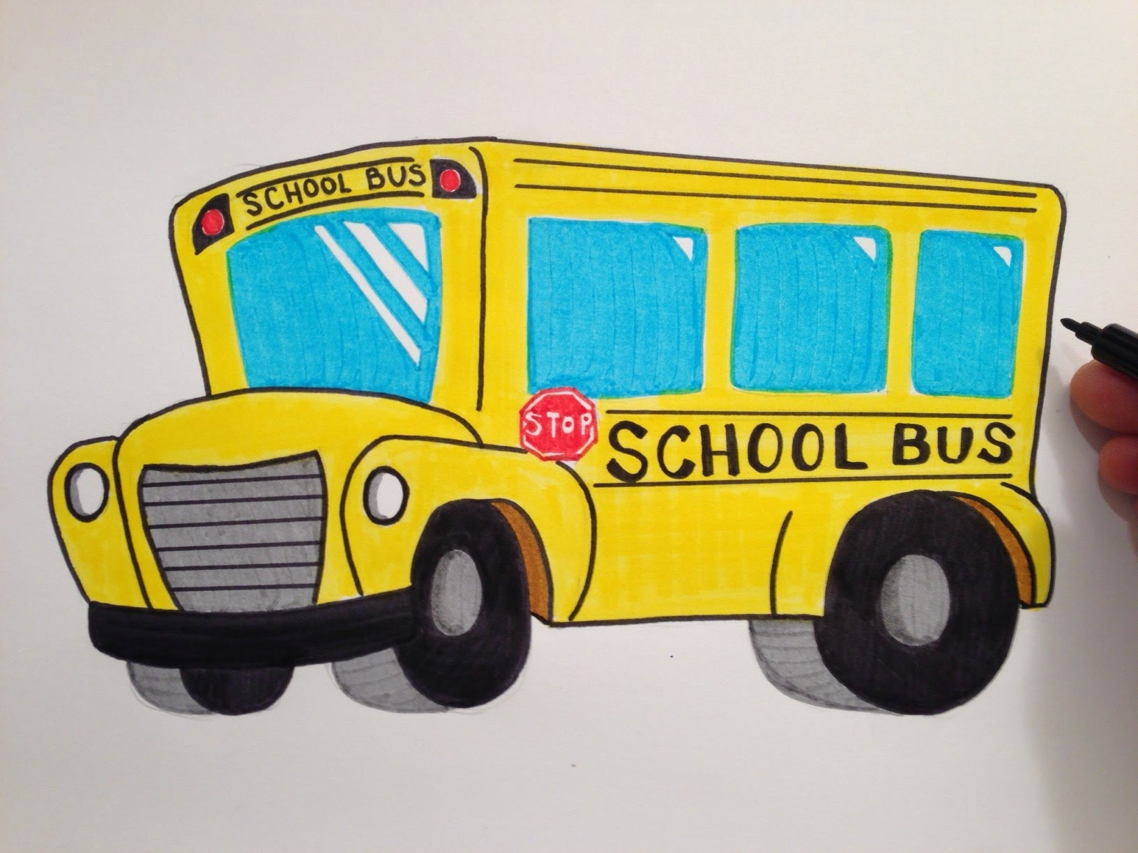 1632x1224 How To Draw A Cute School Bus