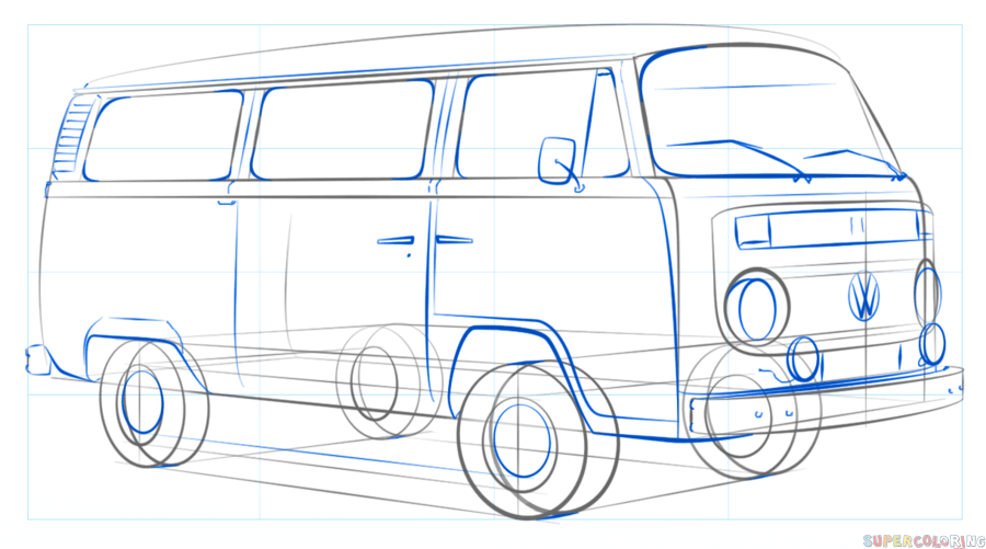 900x501 How To Draw A Vw Bus Step By Step Drawing Tutorials