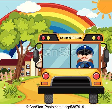 450x440 Bus Driver Driving Schoolbus On The Road Illustration Eps Vectors