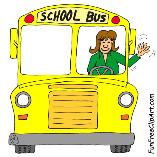 500x500 School Bus Front With Waving Bus Driver