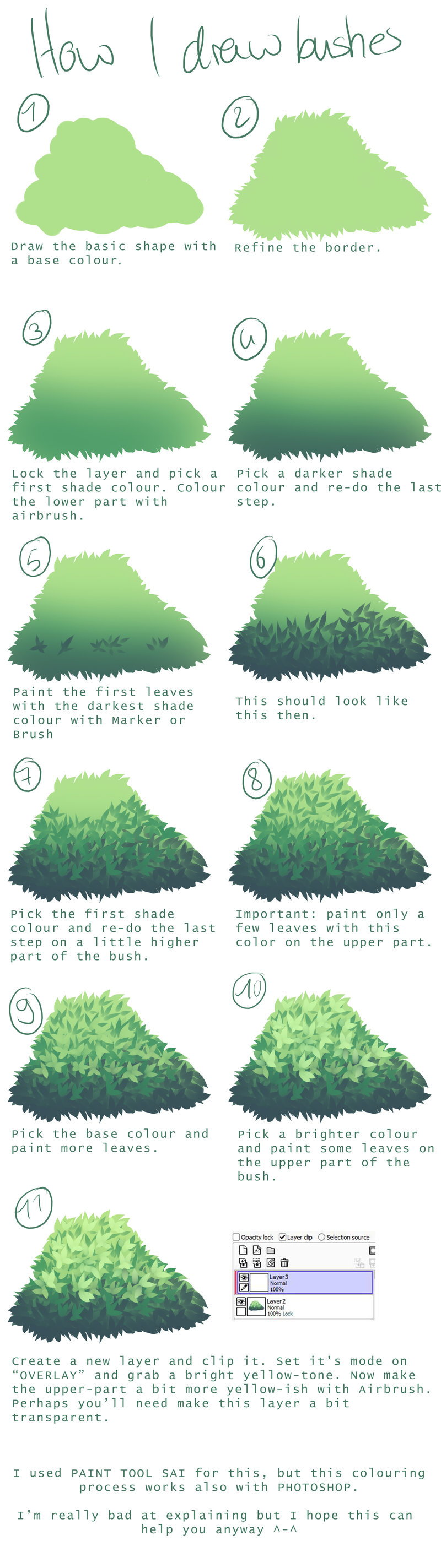 800x2847 How I Draw Bushes By The Searchinge