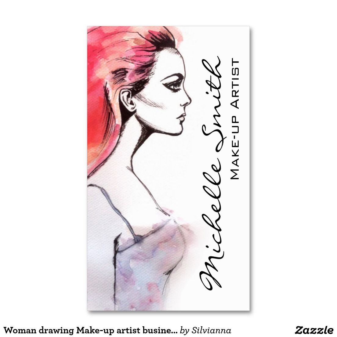 1104x1104 Woman Drawing Make Up Artist Business Card Design Business Card