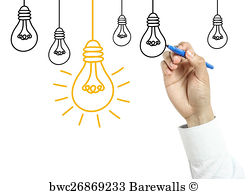 248x194 Art Print Of Businessman Drawing Light Bulb And Gears Barewalls