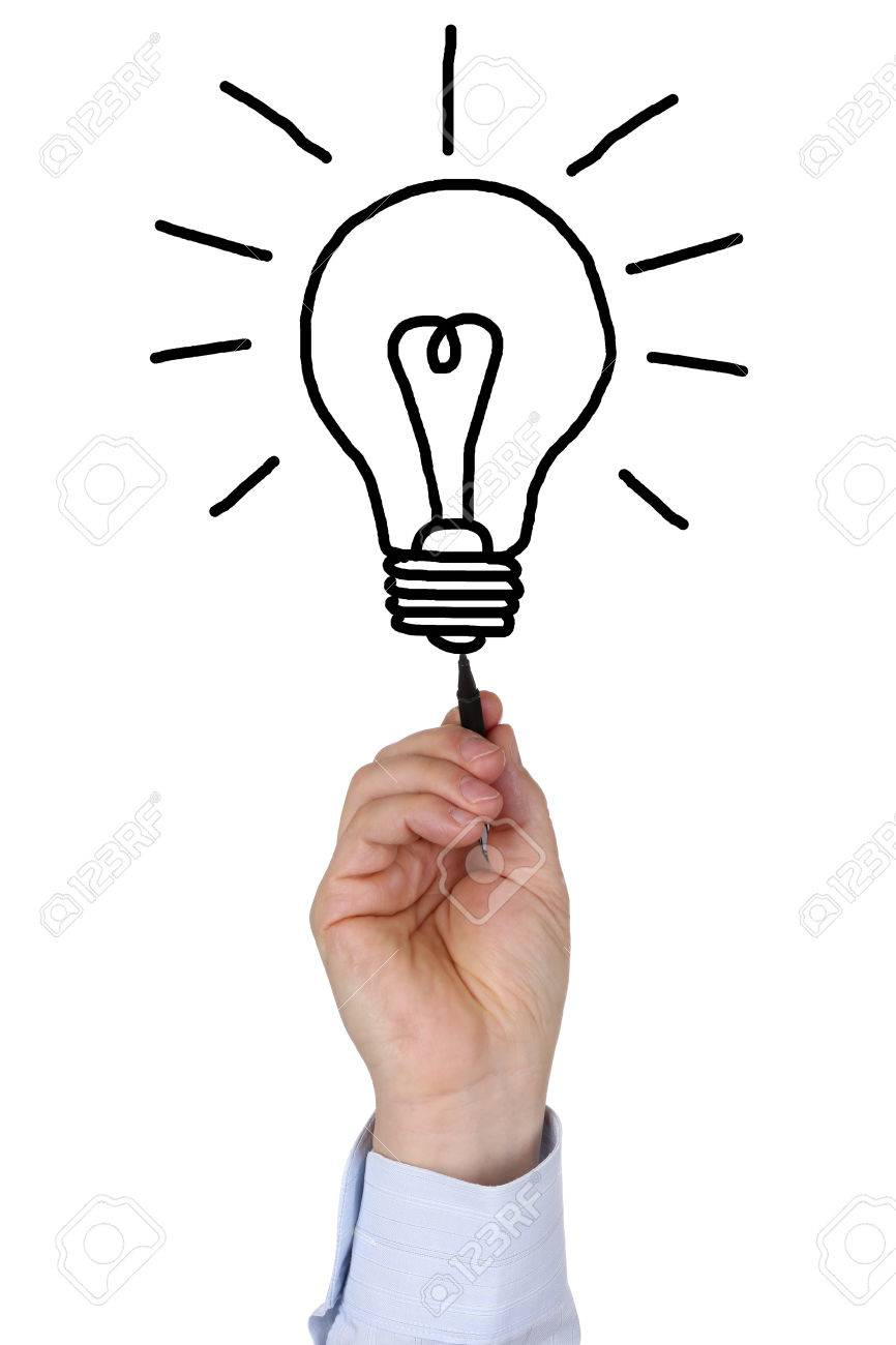 866x1300 Businessman Drawing A Light Bulb As A Symbol Of A Business Idea