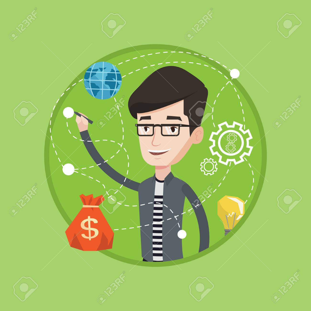 1300x1300 Young Smiling Businessman Writing On A Virtual Screen. Cheerful