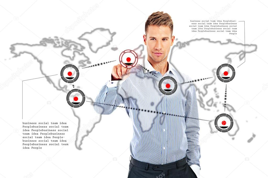 1023x681 Business Man Drawing Social Network Or Business Connection