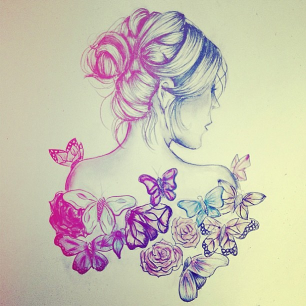 612x612 Beautiful Butterfly Drawing Flower Girly Things Pinterest