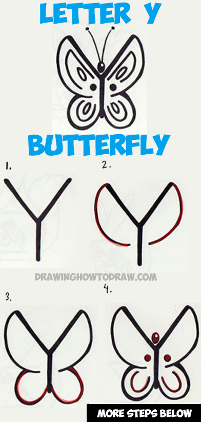 392x821 How To Draw A Butterfly From The Letter Y