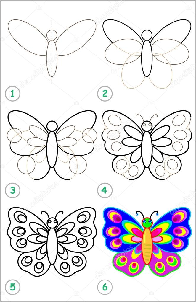 662x1023 Page Shows How To Learn Step By Step To Draw A Butterfly. Stock